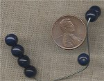 100 VINTAGE GLASS 7mm. NAVY BLUE ROUND BEADS