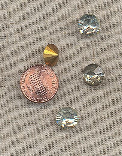 8 VINTAGE GLASS CRYSTAL 11mm RHINESTONE GEMS